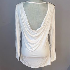 Woman's Fabletics White Open Back Long Sleeve Top